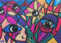 Dimension, Menschen, Pastellmalerei, Rot