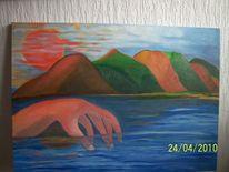 Hand, Berge, Wasser, Malerei