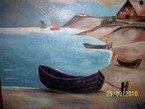 Haus, Wasser, Boot, Malerei