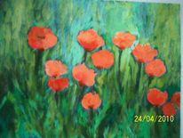 Mohnblumen, Malerei, Pflanzen, Mohnfeld