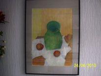 Vase, Apfel, Tischdecke, Malerei