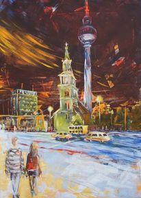 Berlin bei nacht, Malerei, Figural, Nacht