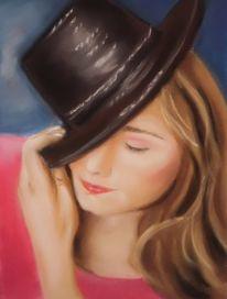 Kinderportrait, Zeichnungen, Hut, Mädchen