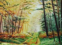 Waldweg, Malerei, Herbst