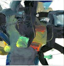 Ölmalerei, Gelb, Schwarz, Grau