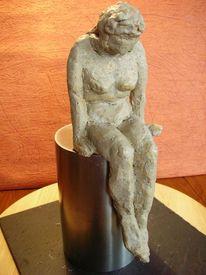 Skulptur, Sitzen, Frau, Ton