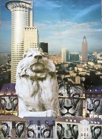 Herrscher, Löwe, Bank, Mischtechnik
