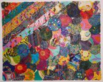Collage, Perlen, Textil, Abstrakt