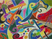 Pastellmalerei, Bunt, Kreide, Mustermix