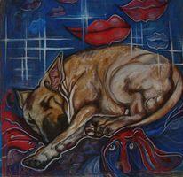 Hund, Gemalte küsse, Kunsthandwerk, Holz u