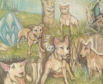 Hund, Familie, Kunsthandwerk, Textilfarbe