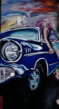 Auto, Frau, Bell air, Malerei
