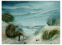 Sand, Möwe, Blau, See