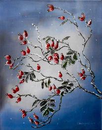 Hagebutte, Winter, Rot, Frost