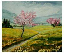 Blühende bäume, Butterblumen, Frühling, Zypressen