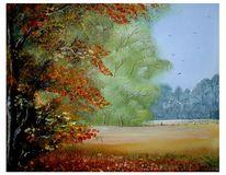 Wiese, Gold, Herbst, Grün