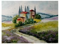 Toskana, Häuser, Blumen, Lila