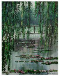 Trauerweide, Nebel, Blätter, Brücke grün