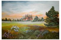 Toskana, Sommerblumenwiese, Malerei, Pflanzen