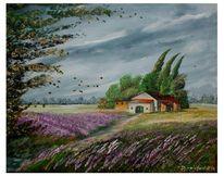 Lavendel, Bunt, Abgefallene blätter, Haus