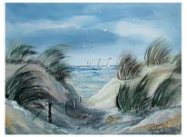 Möwe, Blauer himmel, Sand, Gras