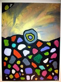 Bunt, Grau, Gemälde, Fantasie