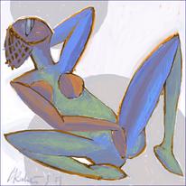 Kreis, Frau, Akt, Blau