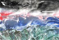 Gewitter, Naturgewalten, Sturm, Gras