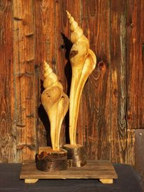 Kettensägenskulptur, Paar, Schnecke, Gehäuse