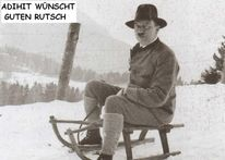 Parodie, Rodeln, Winter, Postkarte satire