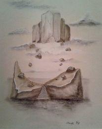 Wolken, Traumschloss, Einsamkeit, Malerei