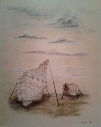 Einsamkeit, Kreide, Seelenwelt, Malerei