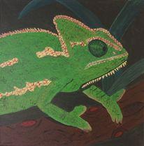 Reptilien chamelion acryl, Malerei