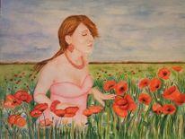 Blumen, Sommer, Figural, Mohnfeld