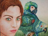 Menschen, Vogel, Malerei, Papagei