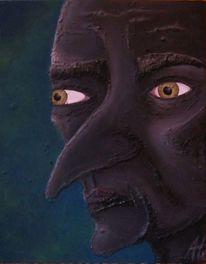 Schwarz, Ölmalerei, Gesicht, Portrait