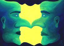 Symmetrie, Gelb, Kopf, Blau