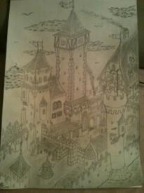 Burg, Mittelalter, Bleistiftzeichnung, Malerei