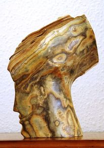 Skulptur, Rückseite, Essigbaum, Holzskulptur