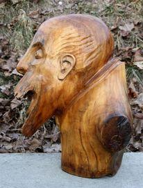Holzskulptur, Verzweiflung, Skulptur, Lachen
