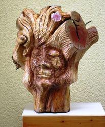 Pflaumenbaumstumpf, Gesichtsknochen, Skurrile gedanken, Holzskulptur