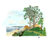 Reetgedeckte, Mecklenburger, Fischerkaten, Bucht