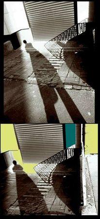 Schatten, Hinterhof, Schattenfrau, Sonne