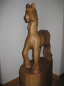 Holzfigur, Skulptur, Pferde, Plastik