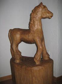 Eule, Eichen, Kettensägenkunst, Pferde
