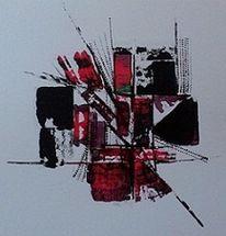 Rot schwarz, Abstrakte darstellung, Abstrakt, Malerei
