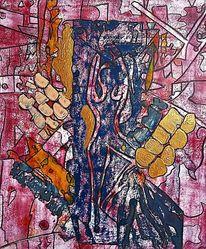 Abstrakte darstellung, Figur, Frau, Blau