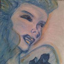 Blau, Gesicht, Pastellmalerei, Abstrakt
