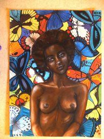 Bunt, Verträumt, Pastellmalerei, Schmetterling