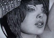 Bleistiftzeichnung, Hübsch, Frau, Portrait